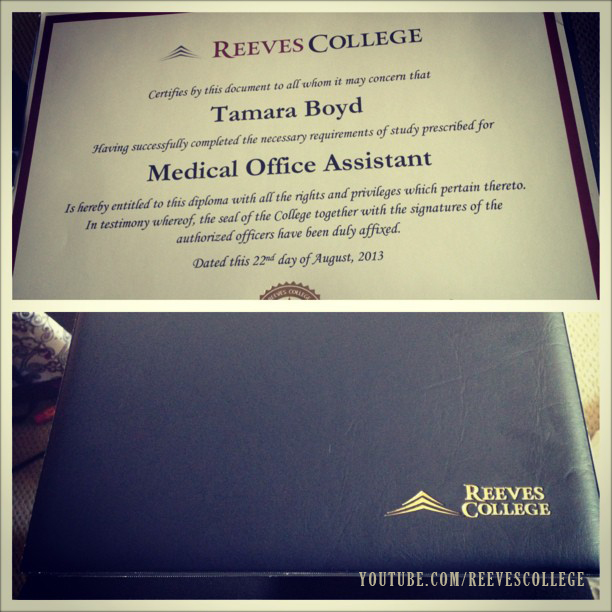 Life at Reeves College on Instagram by tamarastacey - Diploma